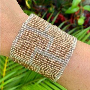 Anthropologie 🍋Serefina Metallic Beaded Bracelet